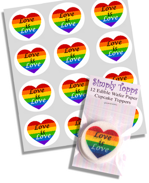 Love Is Love Rainbow Cupcake Toppers - SimplyCakeCraft