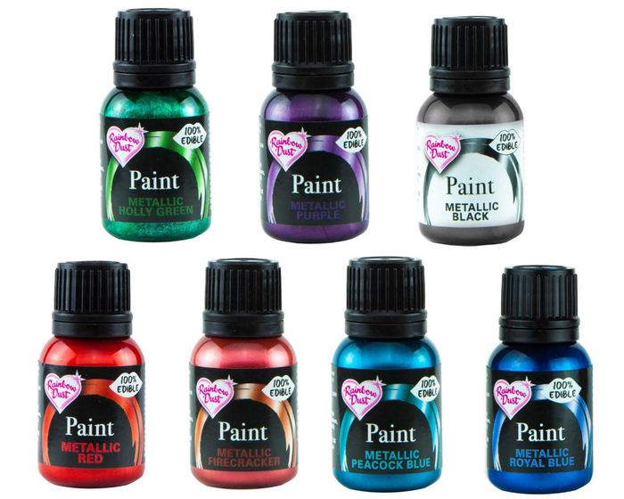 Metallic 'Colours' Set of 7 Rainbow Dust Food Paints