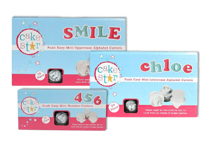 Push Easy Mini Uppercase, Lowercase & Numbers Cutters Set