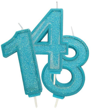 Blue Sparkle Number Candles -  - SimplyCakeCraft