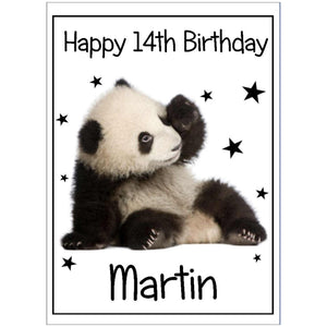 "Personalised Panda Cake Topper - 10"" x 7.5"" Rectangle - SimplyCakeCraft"