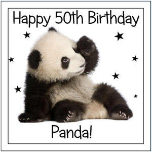 "Personalised Panda Cake Topper - 7.5"" Square - SimplyCakeCraft"