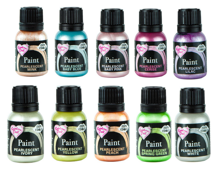 Pearlescent Colours Set of 10 Rainbow Dust Food Paints
