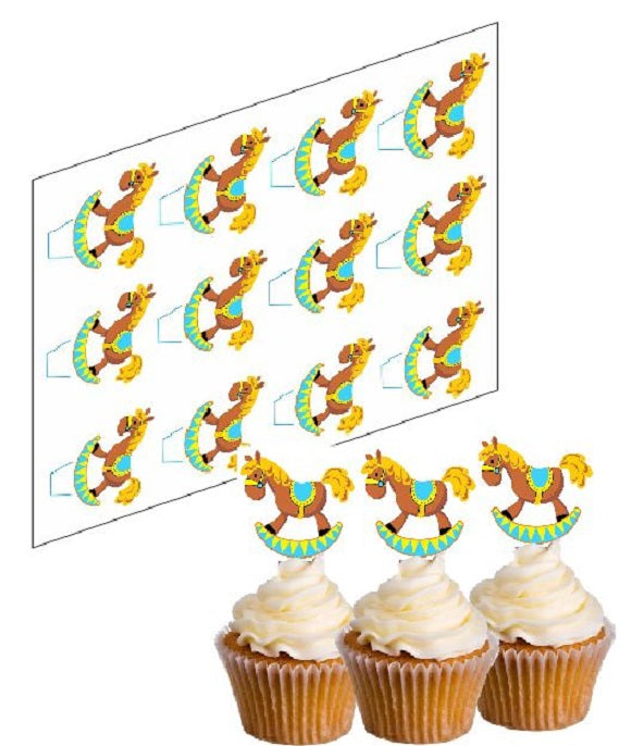 Rocking Horse Blue Cupcake Picks
