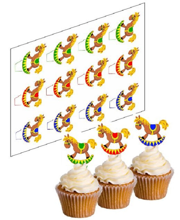 Rocking Horse Multi-Coloured Cupcake Picks