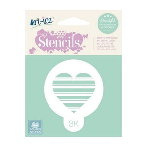 Striped Heart Round Stencil from SK - SimplyCakeCraft