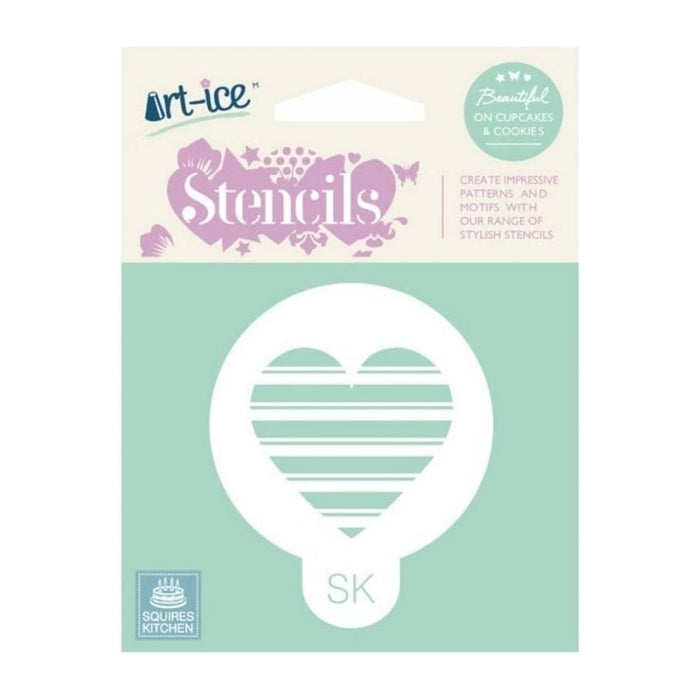 Striped Heart Round Stencil from SK