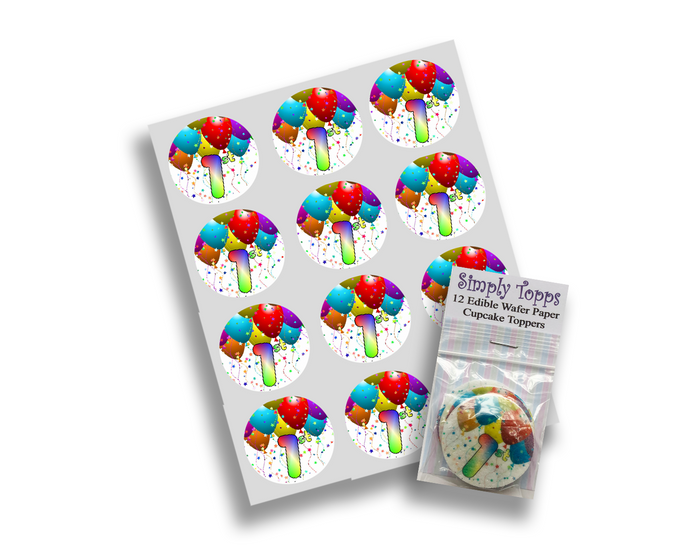 Age Birthday Balloons Cupcake Toppers