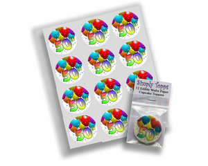 Age Birthday Balloons Cupcake Toppers - SimplyCakeCraft
