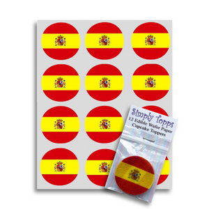 Spain / Spanish Flag Cupcake Toppers - SimplyCakeCraft