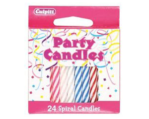 24 Multi Coloured Spiral Candles with Holders - SimplyCakeCraft