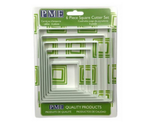 PME Square Plastic Cutters Set of 6 - SimplyCakeCraft