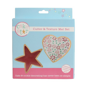 Star and Heart Cutter & Texture Mat Set - SimplyCakeCraft