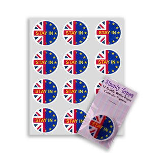 Stay In (Brexit) Cupcake Toppers -  - SimplyCakeCraft