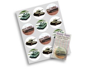 Army Tank Cupcake Toppers Edible Decoration - SimplyCakeCraft