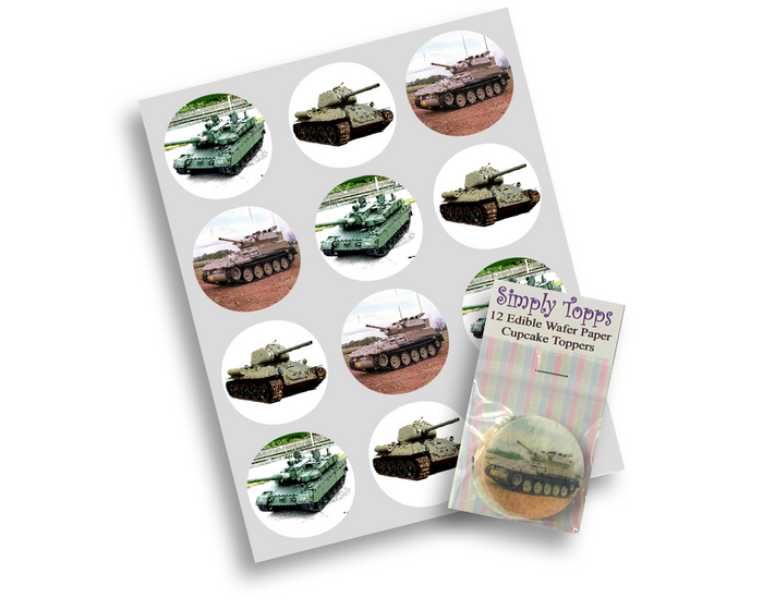 Army Tank Cupcake Toppers Edible Decoration