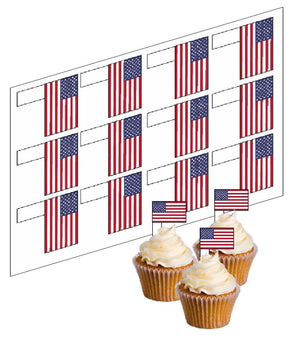 USA / American Flag Cupcake Picks -  - SimplyCakeCraft
