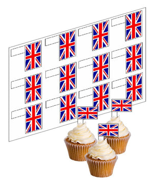 Union Jack / Great Britain Flag Cupcake Picks -  - SimplyCakeCraft