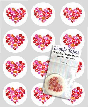 Valentine Lips Hearts Design Cupcake Toppers - SimplyCakeCraft