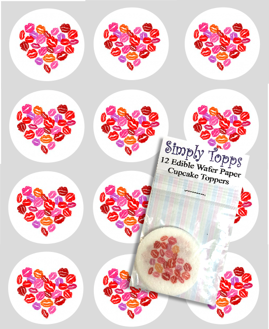 Valentine Lips Hearts Design Cupcake Toppers
