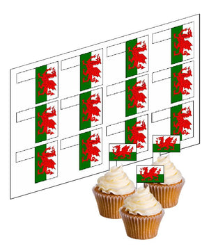 Wales / Welsh Flag Cupcake Picks -  - SimplyCakeCraft