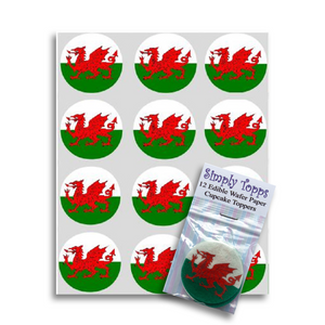 Wales / Welsh Flag Cupcake Toppers -  - SimplyCakeCraft