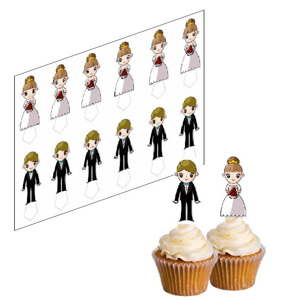 Wedding Bride & Groom Cupcake Picks