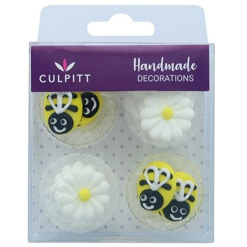 12 Bee And Daisy Sugar Decorations