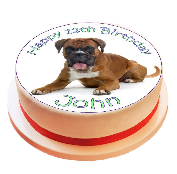 Personalised Boxer Dog Cake Topper