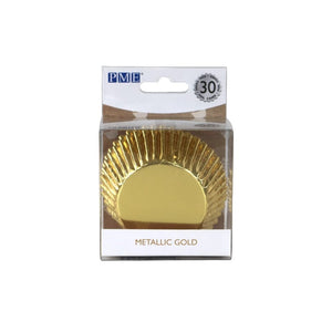 PME Metallic Gold Foil Lined Cupcake Cases x 30 - SimplyCakeCraft