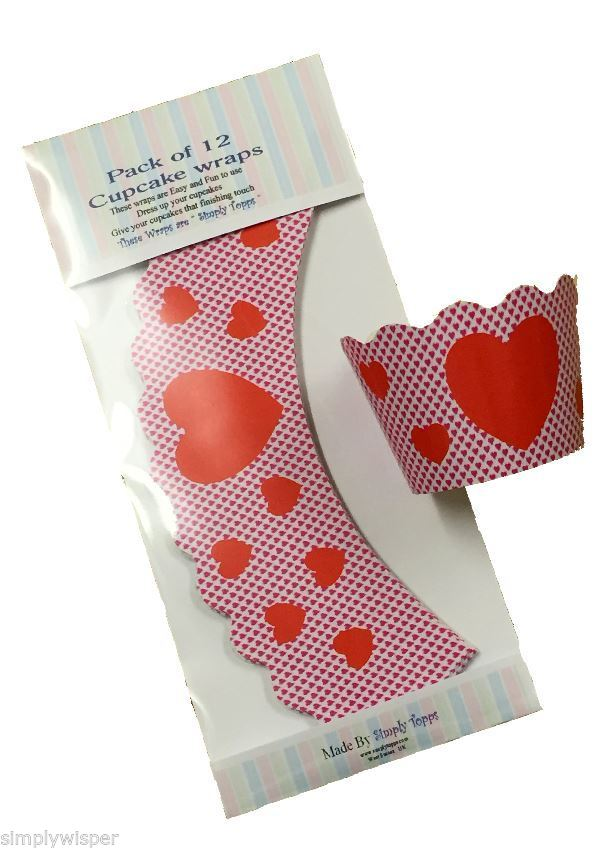 Red Love Heart Valentine Cupcake Wraps