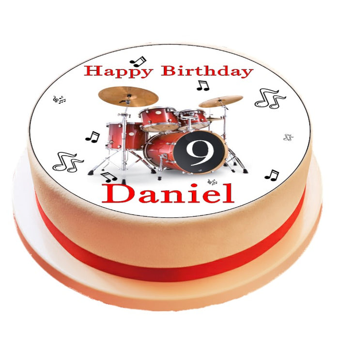 Personalised Drum Kit Cake Topper Decoration