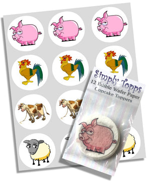 Farmyard Animals Cupcake Decoration Toppers - SimplyCakeCraft