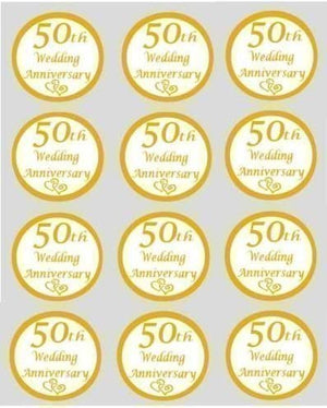 Golden Wedding 50th Anniversary Edible Cupcake Toppers 40mm Cake Decorations - SimplyCakeCraft