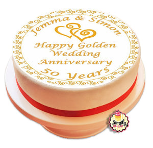 Personalised Golden Wedding Anniversary 50 Years Cake Topper - SimplyCakeCraft