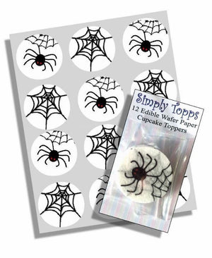 Spider Web Halloween Cupcake Toppers - SimplyCakeCraft