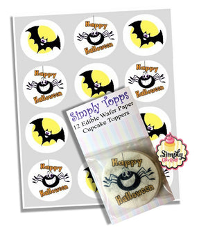 Bat & Spider Happy Halloween Cupcake Toppers Decoration - SimplyCakeCraft