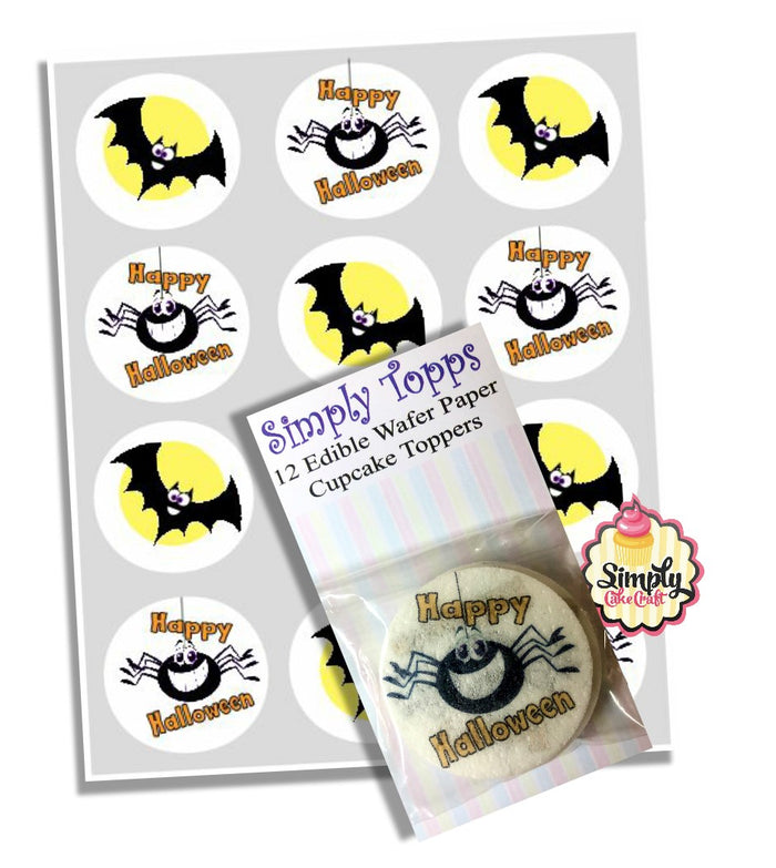 Bat & Spider Happy Halloween Cupcake Toppers Decoration