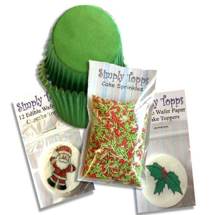 Traditional Santa & Holly Christmas Cupcake Kit