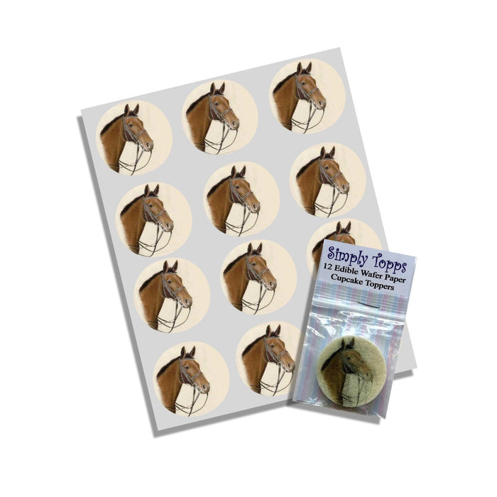 Brown Horse Cupcake Toppers