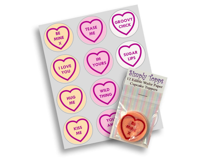 Love Hearts Valentine Cupcake Toppers