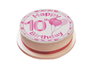 "Personalised Pink Happy Birthday Cake Topper - 7.5"" Circle - SimplyCakeCraft"