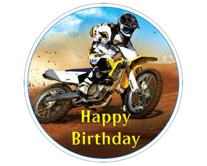 "Personalised Motocross Cake Topper - 7.5"" Circle - SimplyCakeCraft"