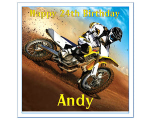 "Personalised Motocross Cake Topper - 7.5"" Square - SimplyCakeCraft"