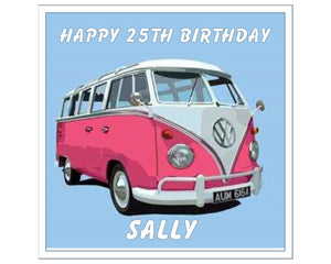 "Personalised Pink VW Camper Van Cake Topper - 7.5"" Square - SimplyCakeCraft"