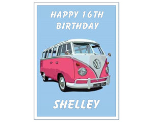 "Personalised Pink VW Camper Van Cake Topper - 10"" x 7.5"" Rectangle - SimplyCakeCraft"