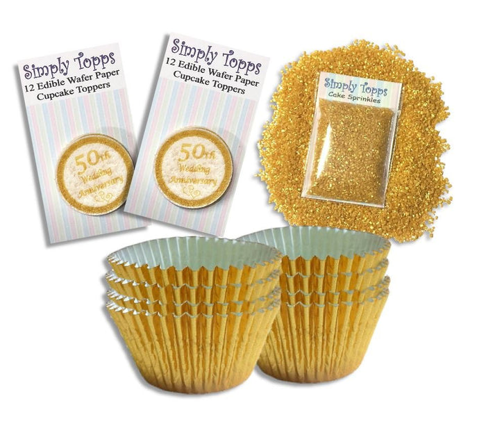 Golden Wedding Anniversary Cupcake Kit