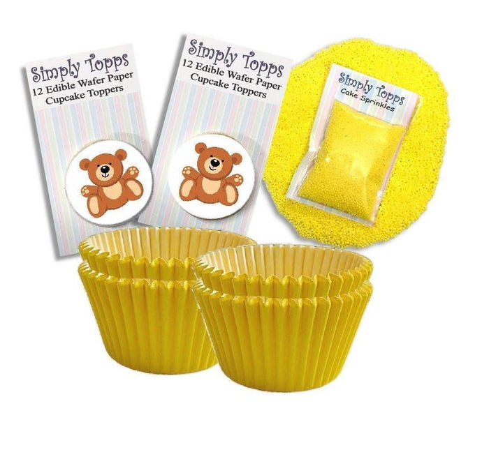 Baby Yellow Teddy Cupcake Kit