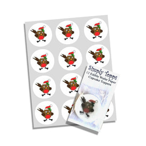 Christmas Robin Cupcake Toppers -  - SimplyCakeCraft