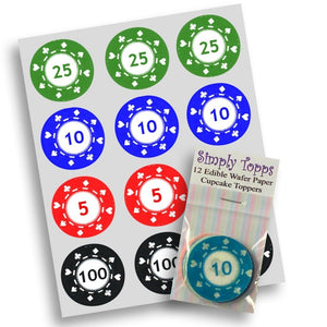 Poker Chips Cupcake Toppers - SimplyCakeCraft